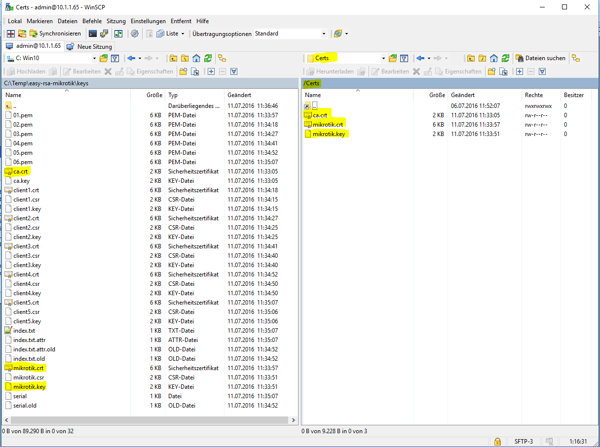OpenVPN-Server-Files-WinSCP